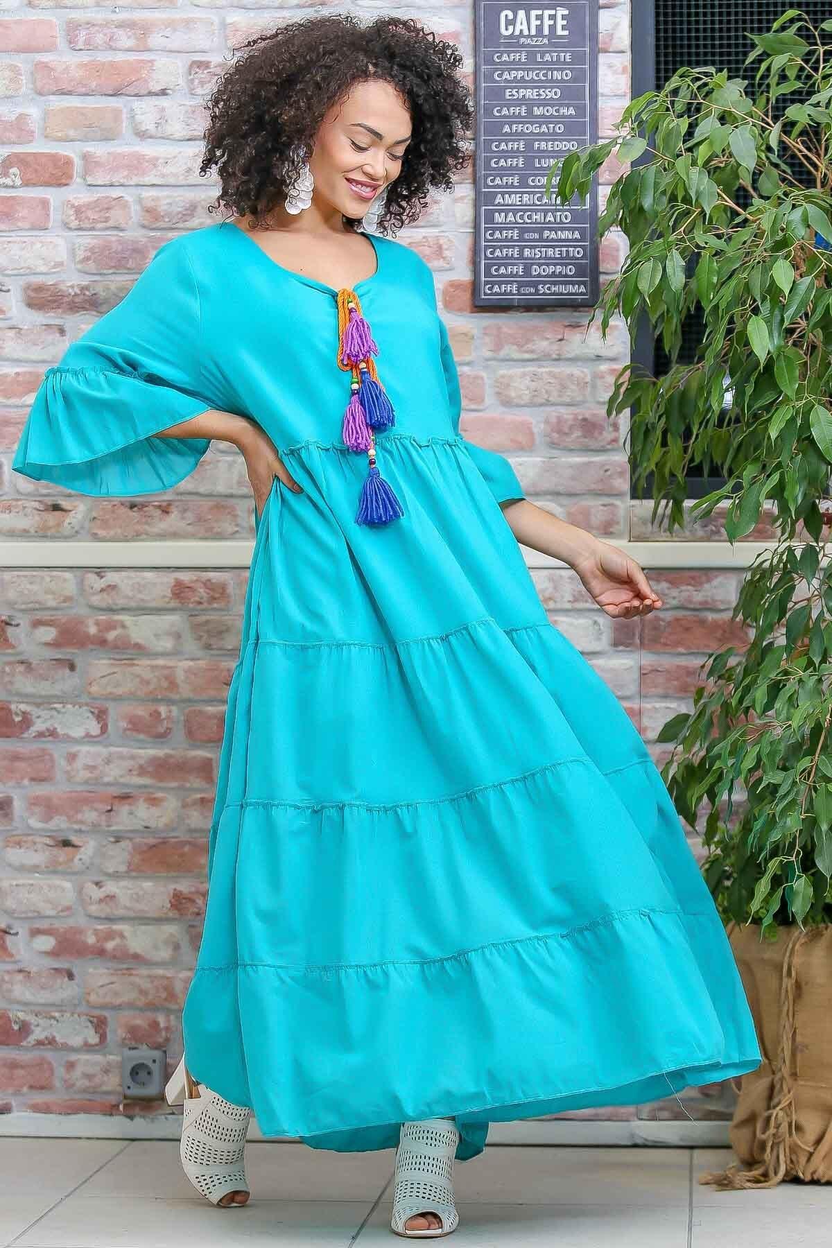 Chiccy Kadın Turkuaz Vintage Oversize El Yapımı Mix Renkli Püskül Detaylı Elbise M10160000EL97016