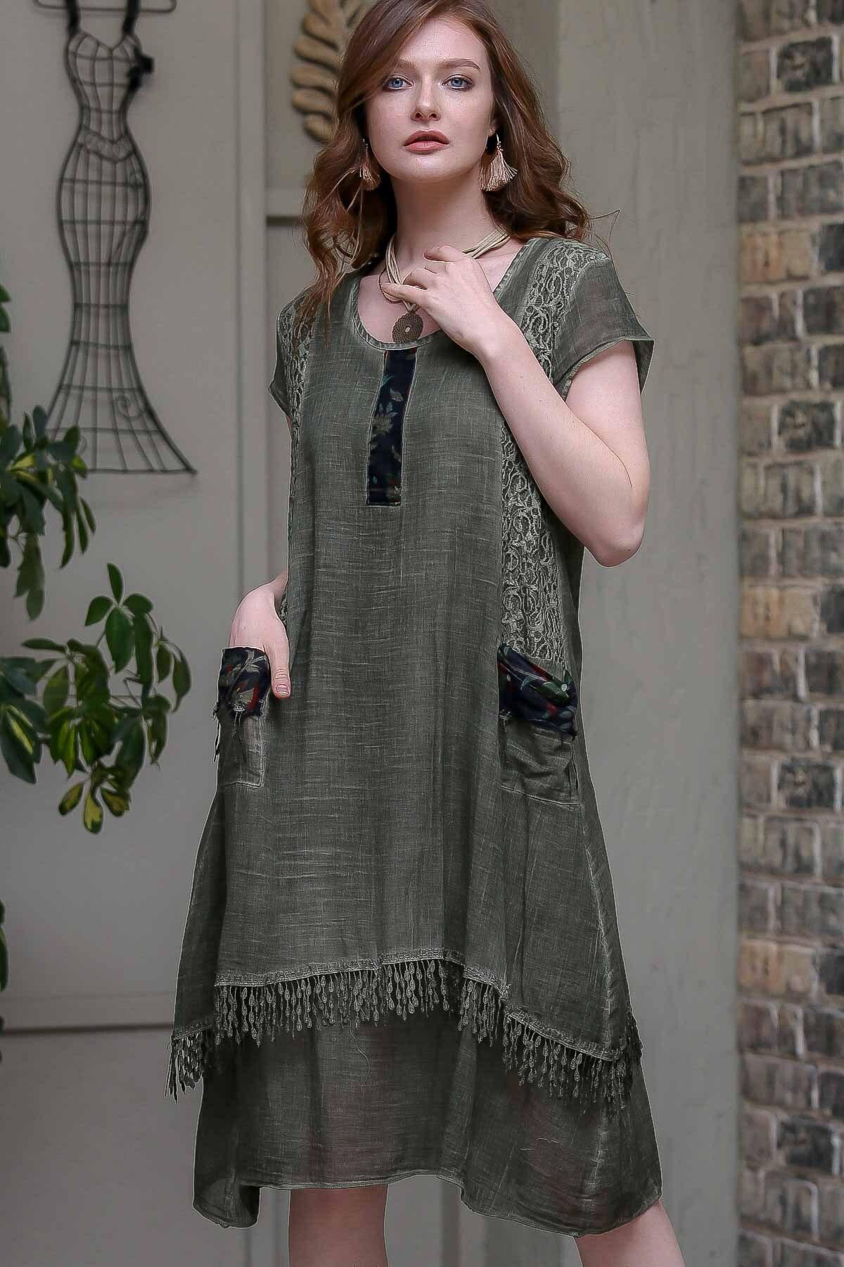 Chiccy Kadın Haki Dantel Ve Tülbent Detaylı Saçaklı Cepli Astarlı Yıkamalı Dokuma Elbise  M10160000EL97237