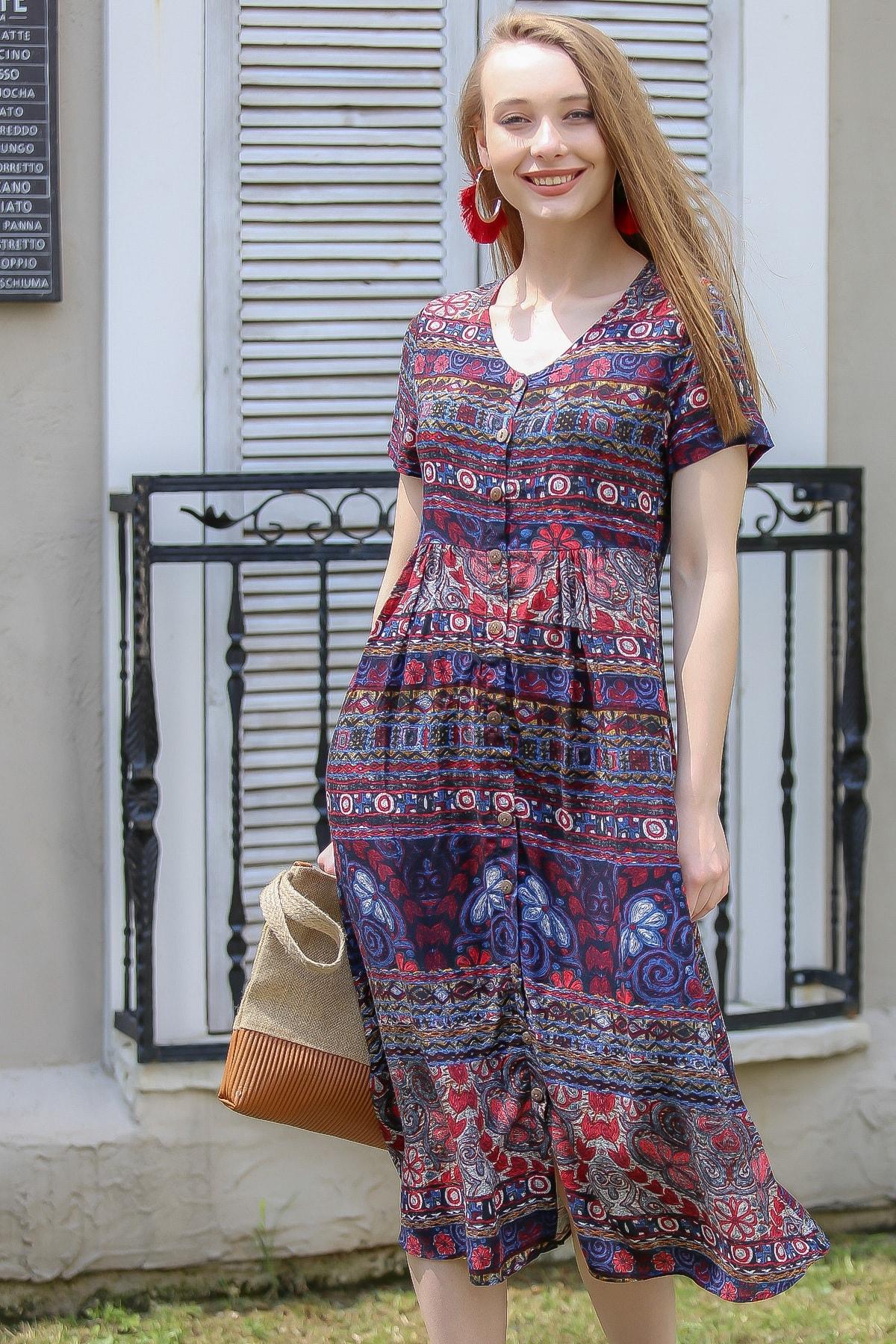 Chiccy Kadın Mor Vintage Çiçek Desenli Süs Düğme Detaylı Elbise M10160000El96894