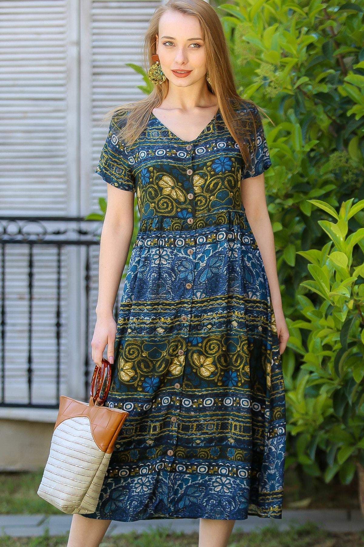 Chiccy Kadın Yeşil Vintage Çiçek Desenli Süs Düğme Detaylı Elbise M10160000El96894