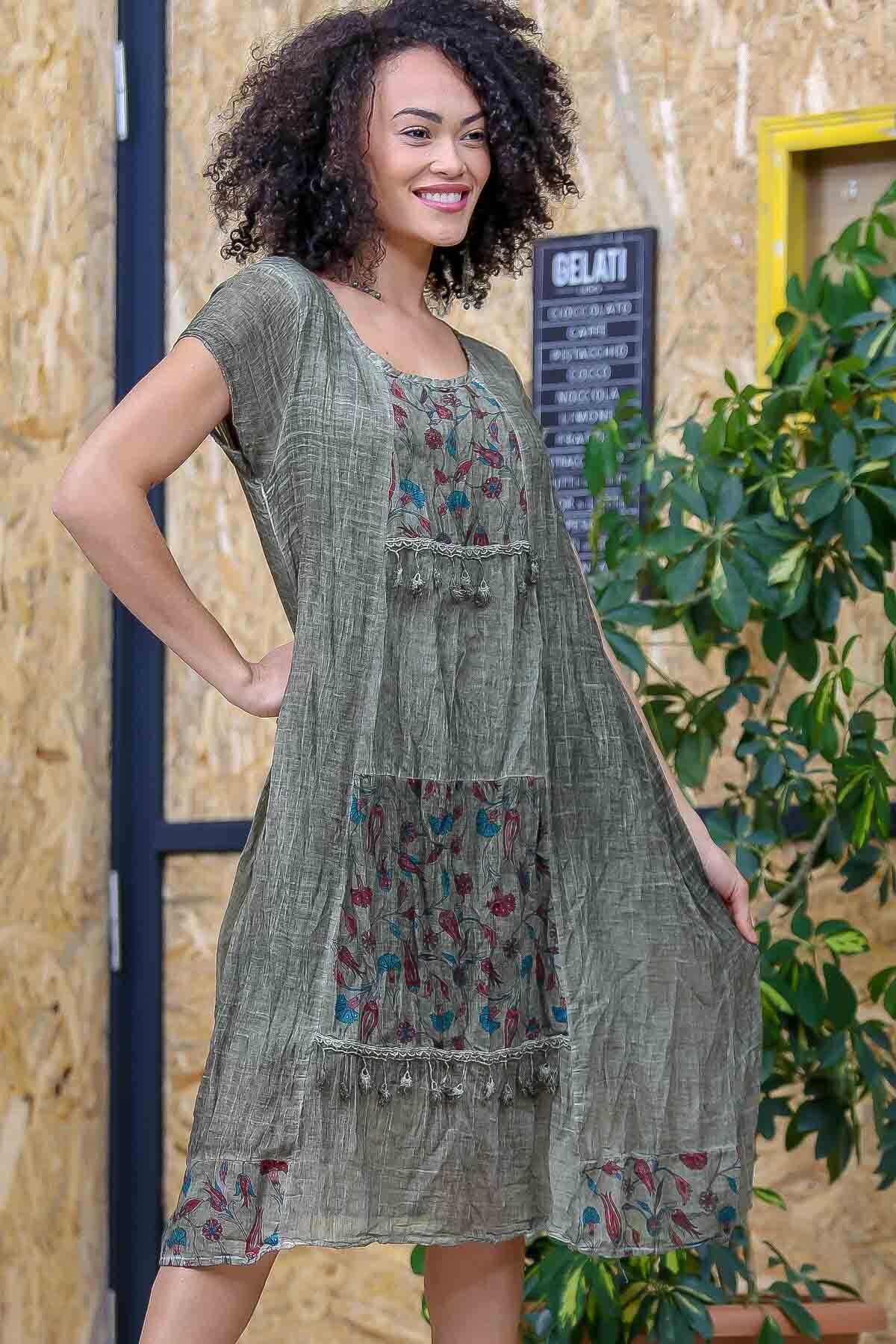 Chiccy Kadın Yeşil Bohem Tülbent Detaylı Saçaklı Yıkamalı Elbise M10160000EL97063