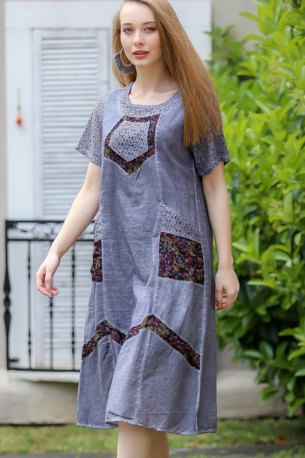 Chiccy Kadın Füme Bohem Dantel Kol Ve Detaylı Cepli Astarlı Yıkamalı Dokuma Elbise M10160000El97240