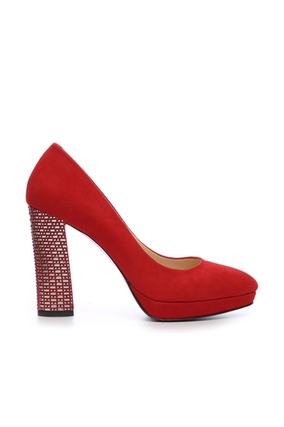 KEMAL TANCA Kırmızı Kadın Vegan Klasik Topuklu Ayakkabı 22 2048 BN AYK 1