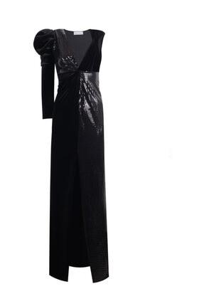 Nunu's Closet by Nur Karaata Ivanka Black Shine & Velvet Elbise