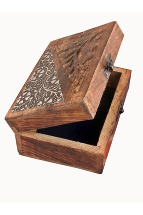 Okçu Ahşap Dikiş Kutusu Takı Kutusu Hediyelik Kutu El Işlemeli Ahşap Kutu