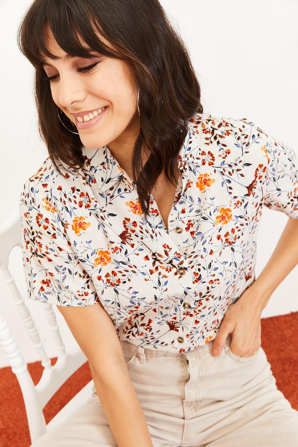 Bianco Lucci Kadın Çiçek Desen Kısa Kollu Keten Görünümlü Gömlek Turuncu 10061001