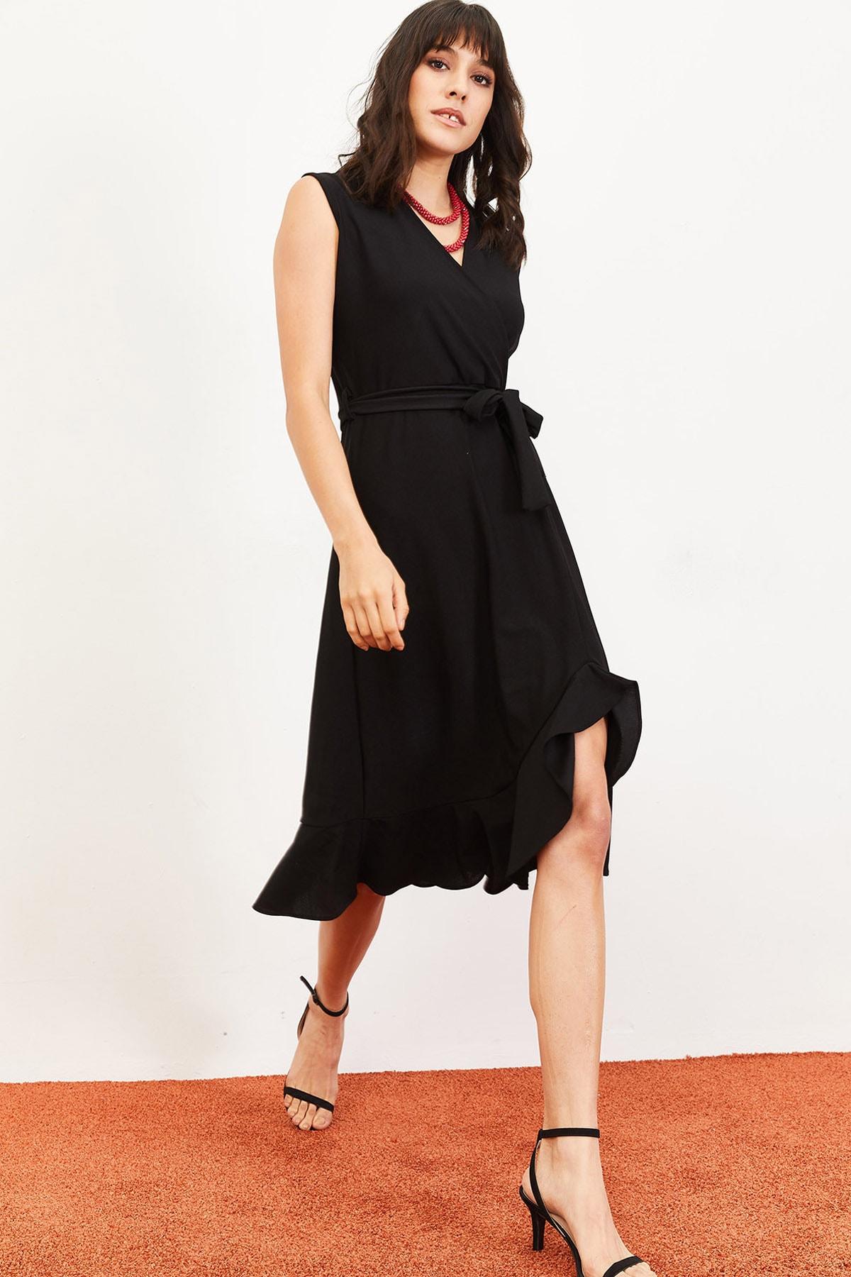 Bianco Lucci Kadın Fırfırlı Kruvaze Yaka Kolsuz Kuşaklı Elbise Siyah 10061031