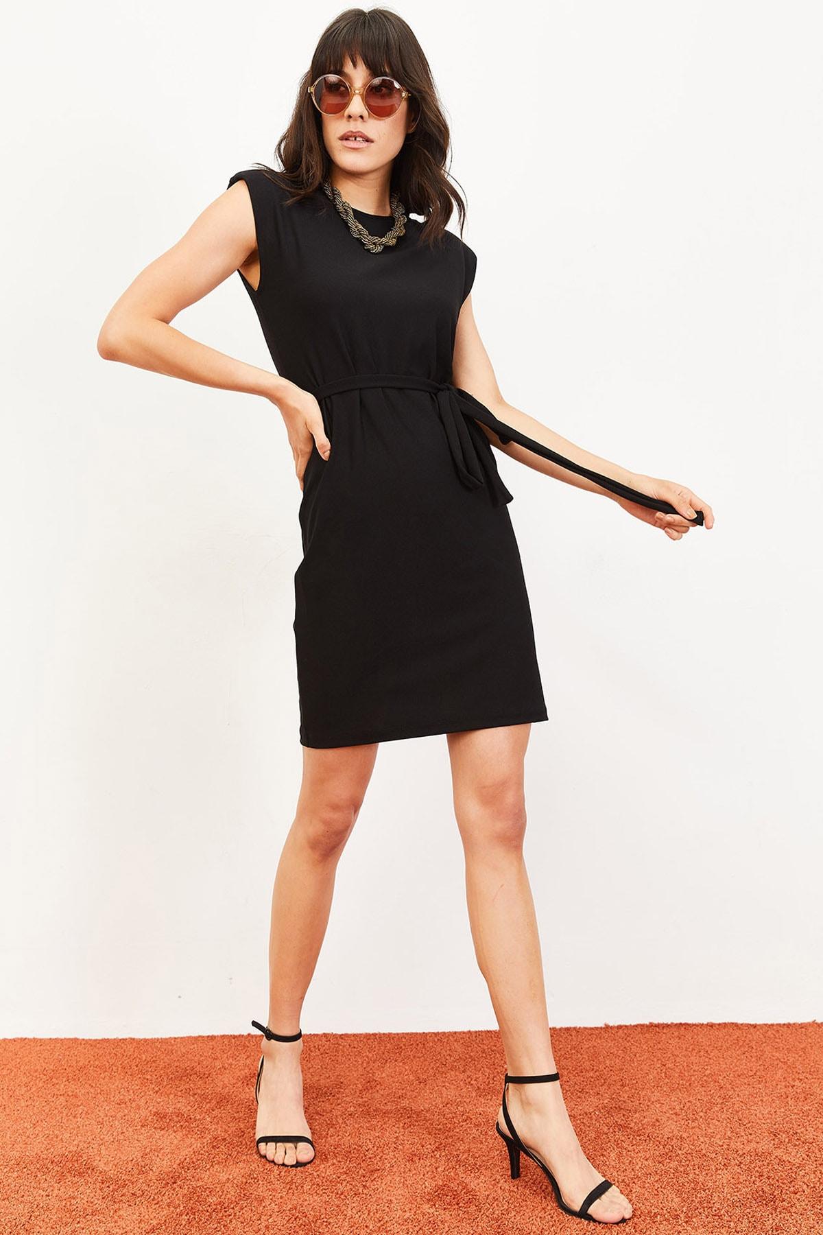 Bianco Lucci Kadın Vatkalı Kuşaklı Elbise Siyah 10061032