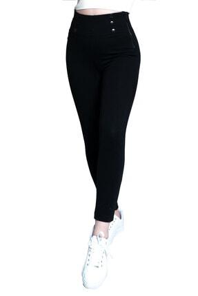 Prego Siyah Düğmeli Korseli Pantolon
