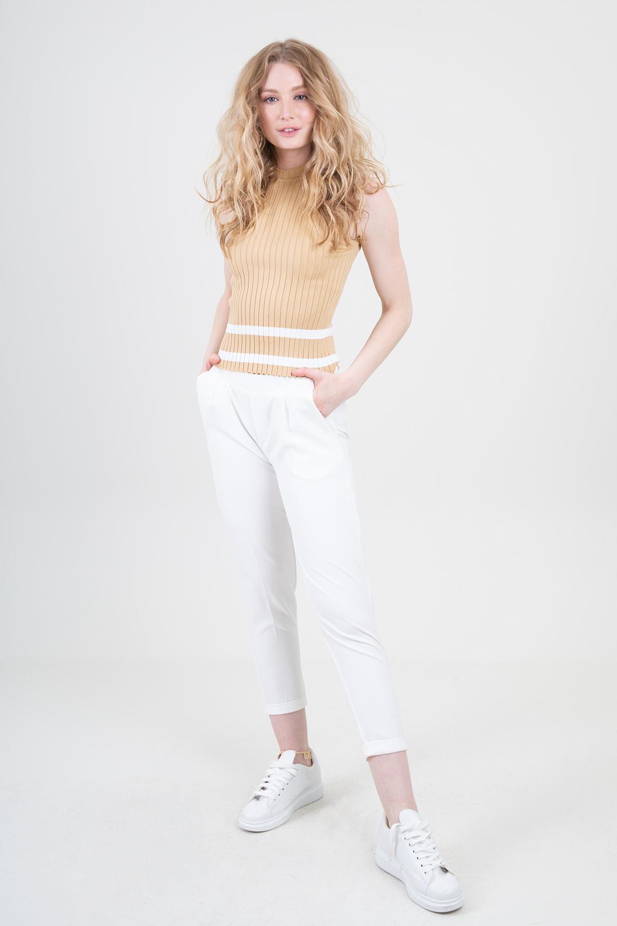 Nisan Triko Kadın Klasik Pantolon Ekru 1