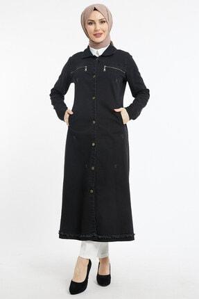 benguen Kadın Uzun Cepli Kot Ceket - Siyah