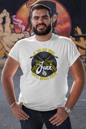 Angemiel Wear Jazz Ve Saksafon Beyaz Erkek Pamuklu Büyük Beden Tişört