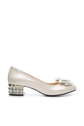 KEMAL TANCA Hakiki Deri Beyaz Kadın Topuklu Ayakkabı 357 520 BN AYK Y19