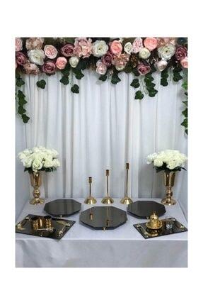 Helvacıoğlu Söz Nişan Gold Petek Sunum Masası Seti Jardinyer Şamdan Metal Vazo Tepsi Full Organizasyon Takım