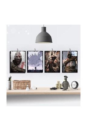 Tontilika God Of War 4'lü Gamer Hediyelik Özel Tasarım 8  mm Dekoratif Ahşap Tablo Seti