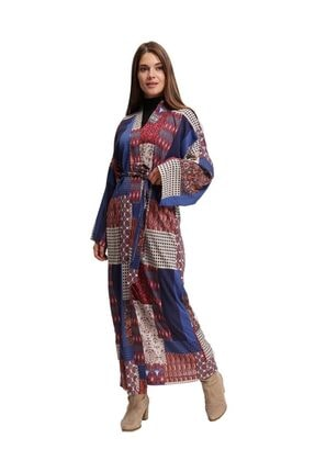 Mizalle Özel Desenli Uzun Kimono (Mix)