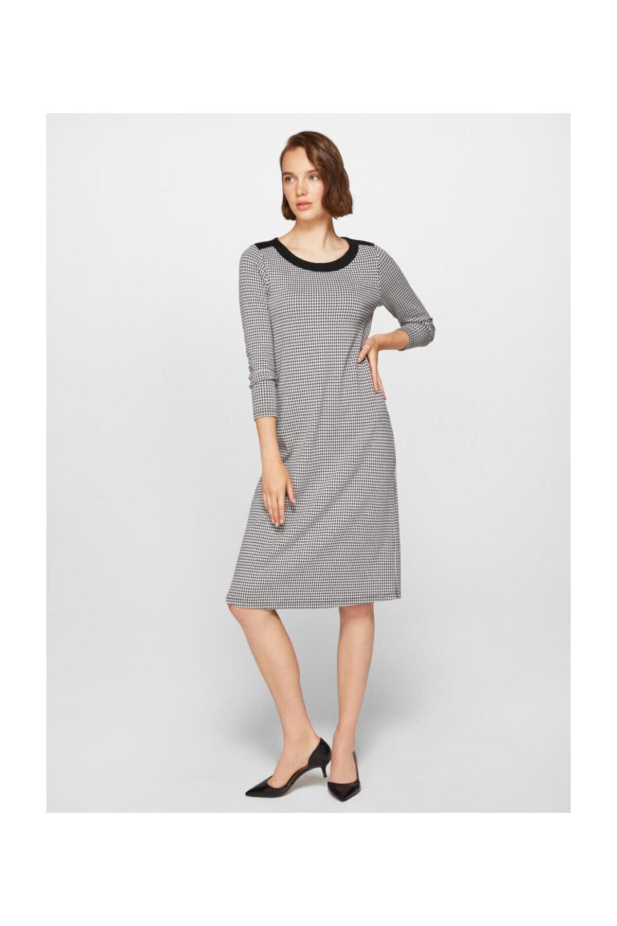 Faik Sönmez Kadın Siyah Kazayağı Desenli Elbise 39235 U39235 1