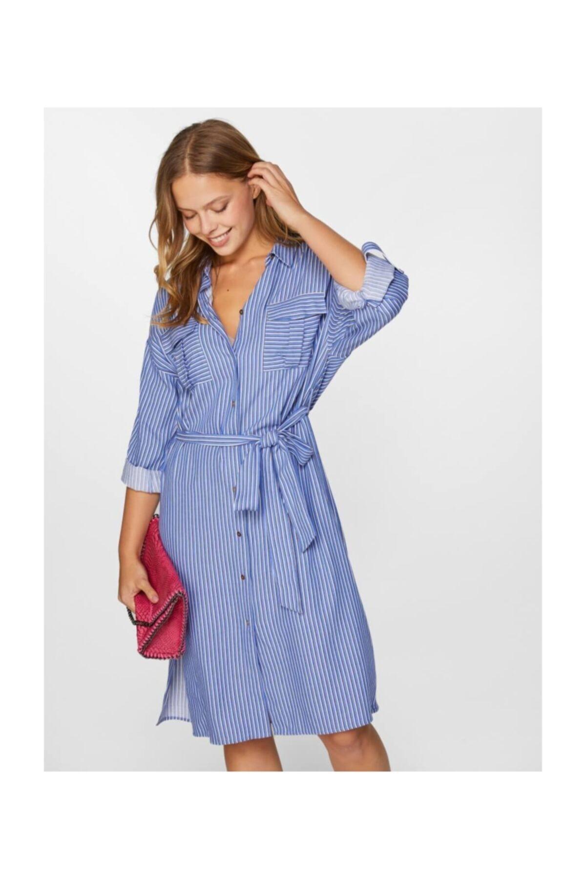 Faik Sönmez Kadın Mavi Çizgili Gömlek Elbise 60283 U60283 1