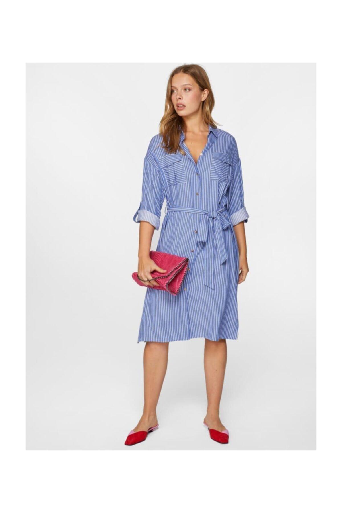 Faik Sönmez Kadın Mavi Çizgili Gömlek Elbise 60283 U60283 2