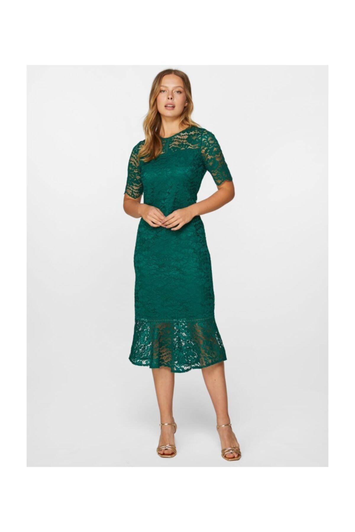 Faik Sönmez Kadın Zümrüt Dantel Abiye Elbise 60108 U60108 2