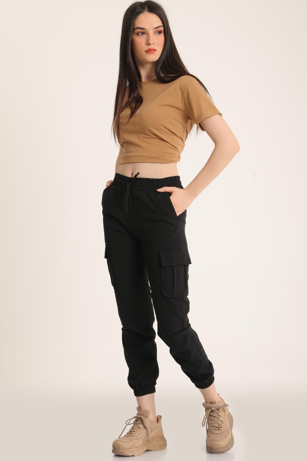 MD trend Kadın Siyah Bel Lastikli Kargo Cepli Pantolon Mdt5296 1