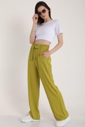 MD trend Kadın Fistik Yeşili Bel Lastikli Kemerli Salaş Pantolon  Mdt5181