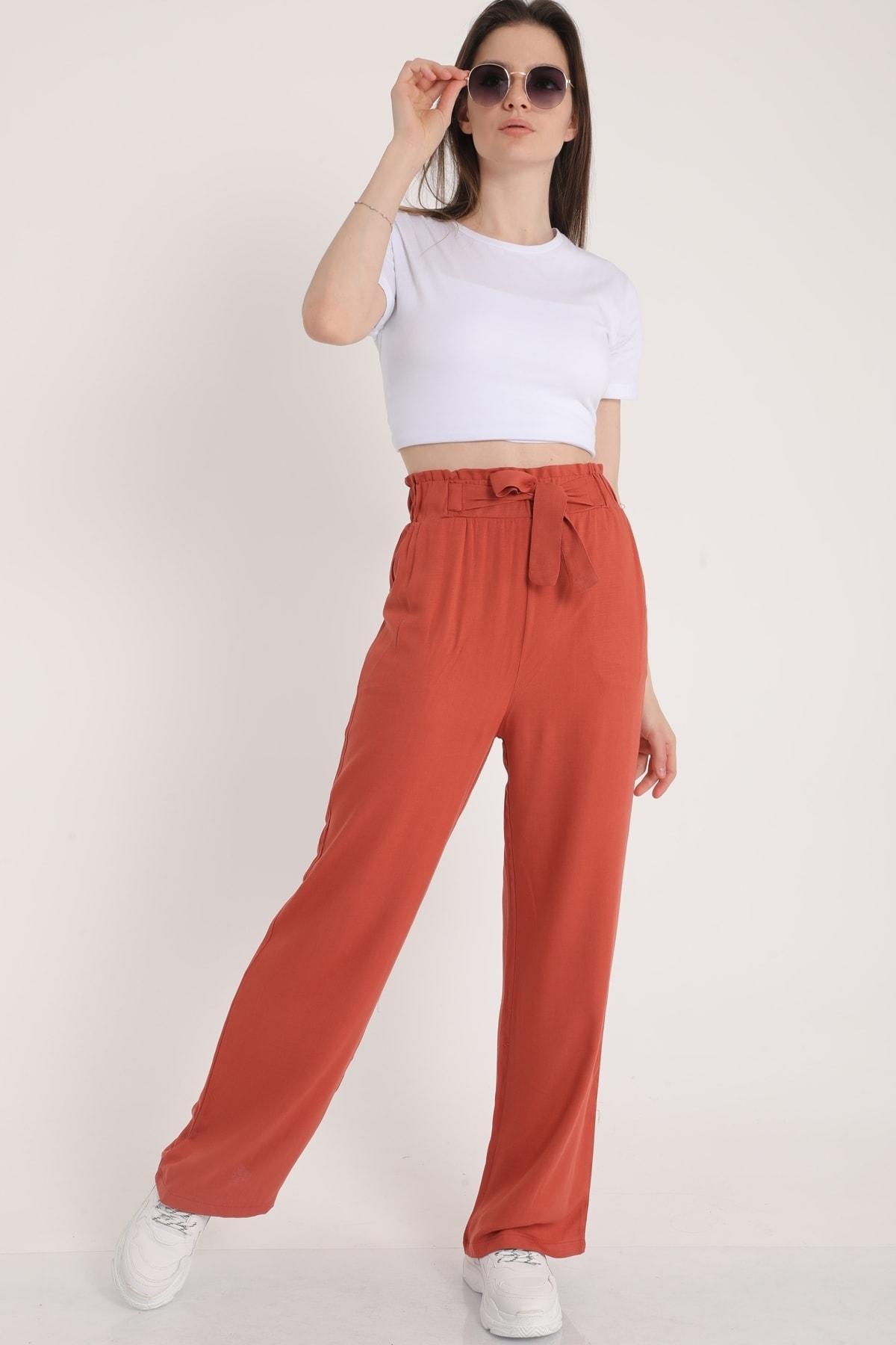 MD trend Kadın Gül Kurusu Bel Lastikli Kemerli Salaş Pantolon  Mdt5181 1