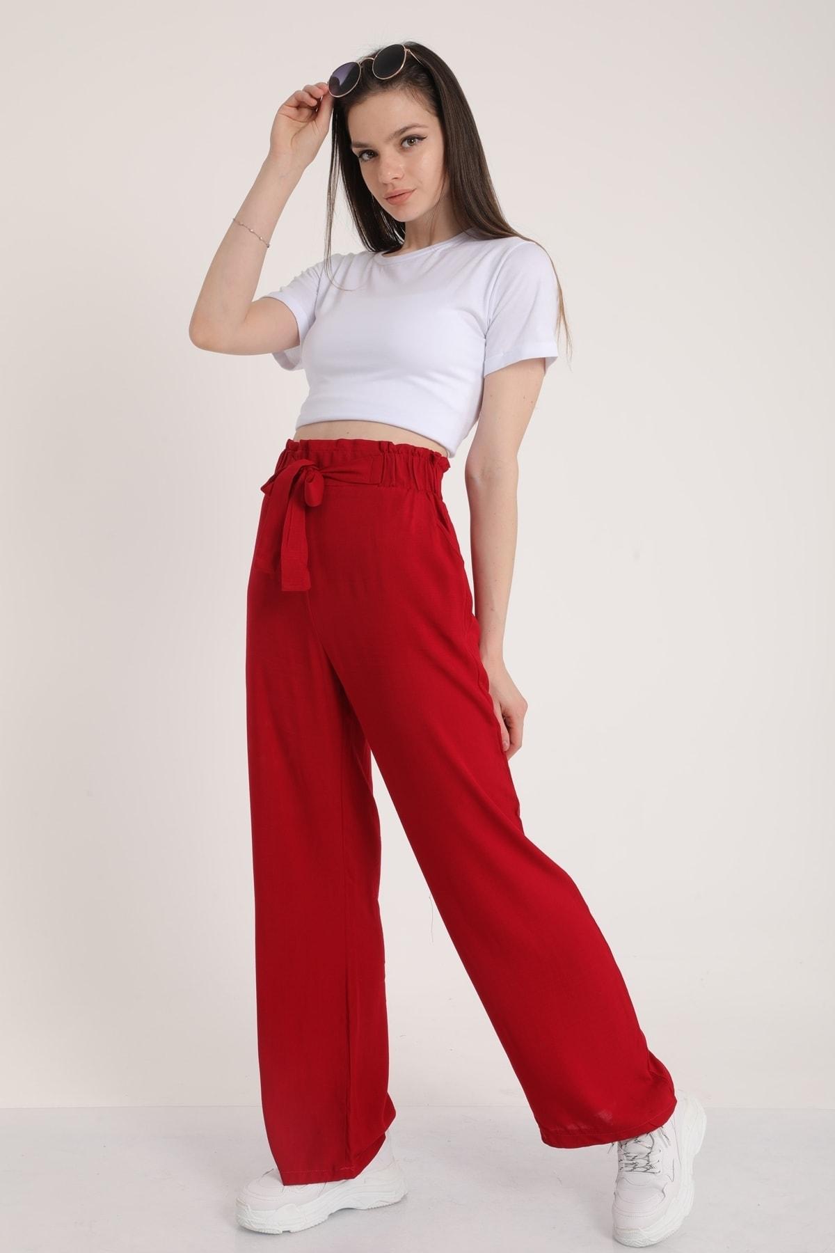 MD trend Kadın Bordo Bel Lastikli Kemerli Salaş Pantolon  Mdt5181 1