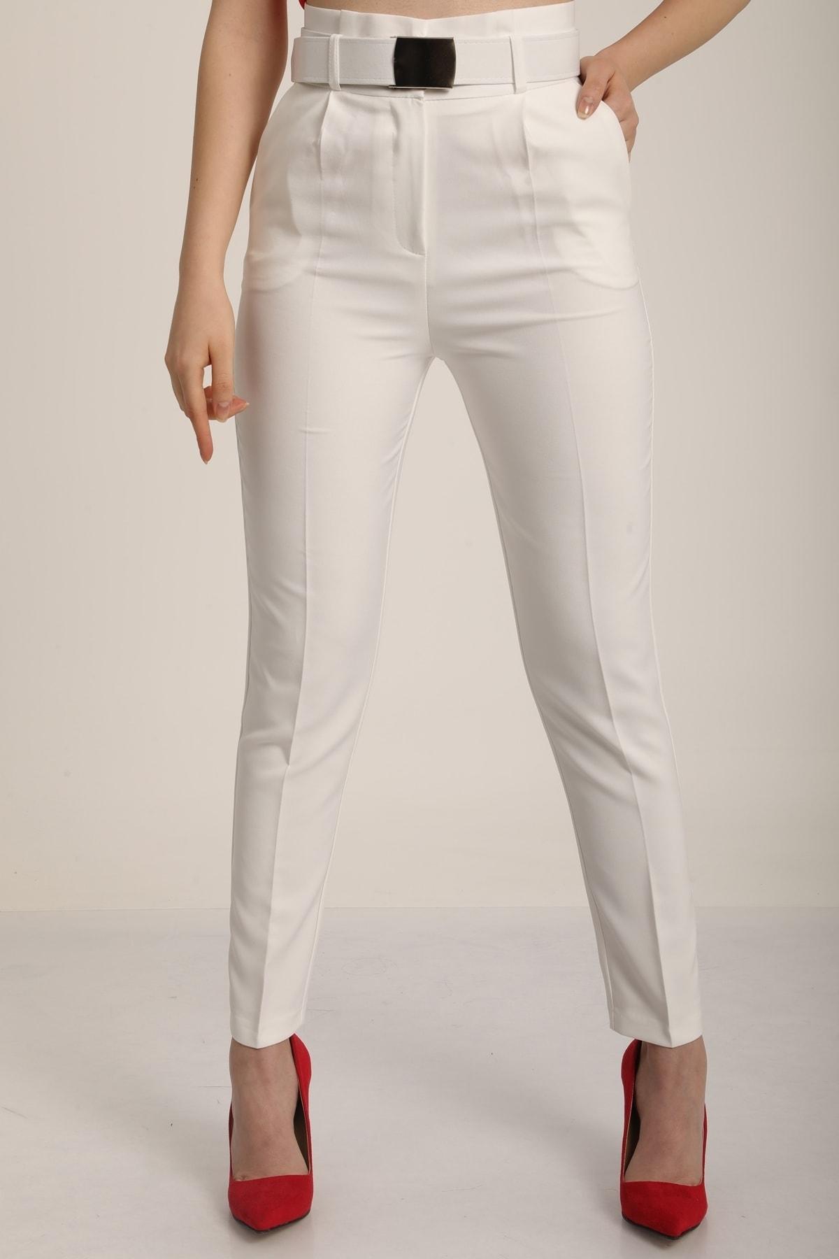MD trend Kadın Beyaz Yüksek Bel Palaska Kemerli Kumaş Pantolon Mdt5015 2