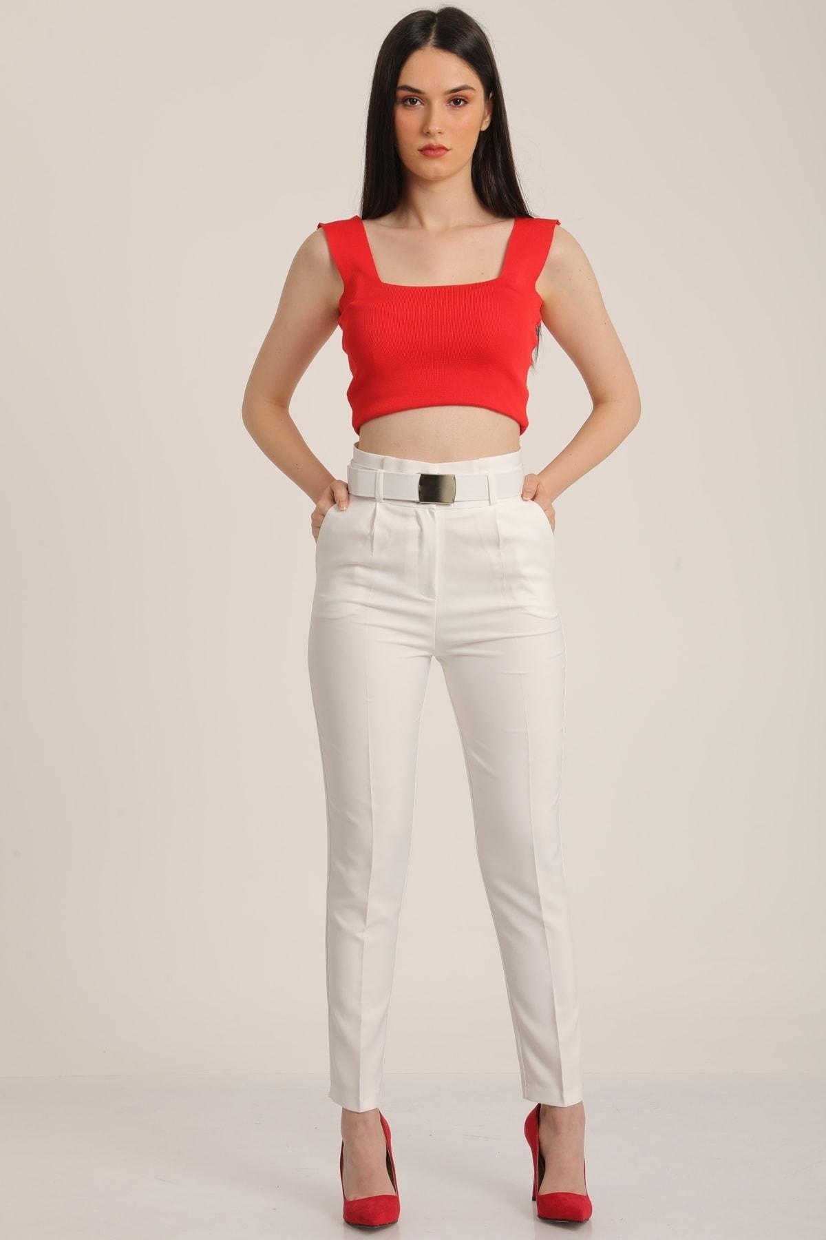 MD trend Kadın Beyaz Yüksek Bel Palaska Kemerli Kumaş Pantolon Mdt5015 1
