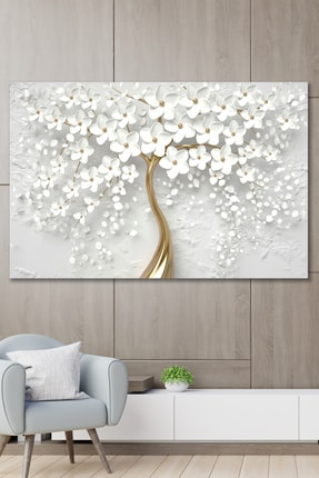 Hediyeler Kapında 70x100 Dekoratif Beyaz Gelincik Duvar Kanvas Tablo