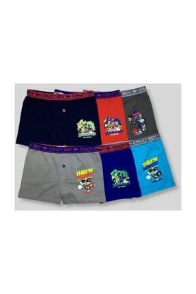 Tutku Erkek Çocuk Çok Renkli 6'Lı Paket Elastan Pamuk Baskılı Boxer Çok Renkli 9-10 Yaş