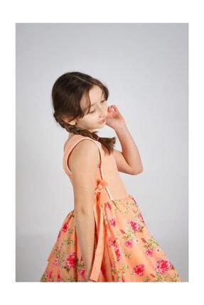 Hilal Akıncı Style Kız Çocuk Turuncu Renk Kısa Kol Elbise