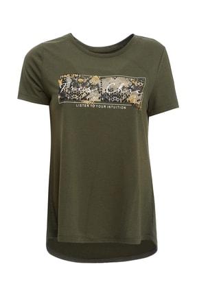 DeFacto Kadın Haki Baskı Detaylı Kısa Kollu T-Shirt R0496AZ.20SM.KH211