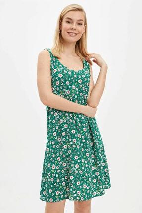 DeFacto Kadın Yeşil Çiçek Desenli Dokuma Elbise R1712AZ.20SM.GN384