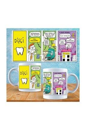 E-Hediyeci Diş Hekimi Para Üstü El Çizimi Karikatür Kupa 07