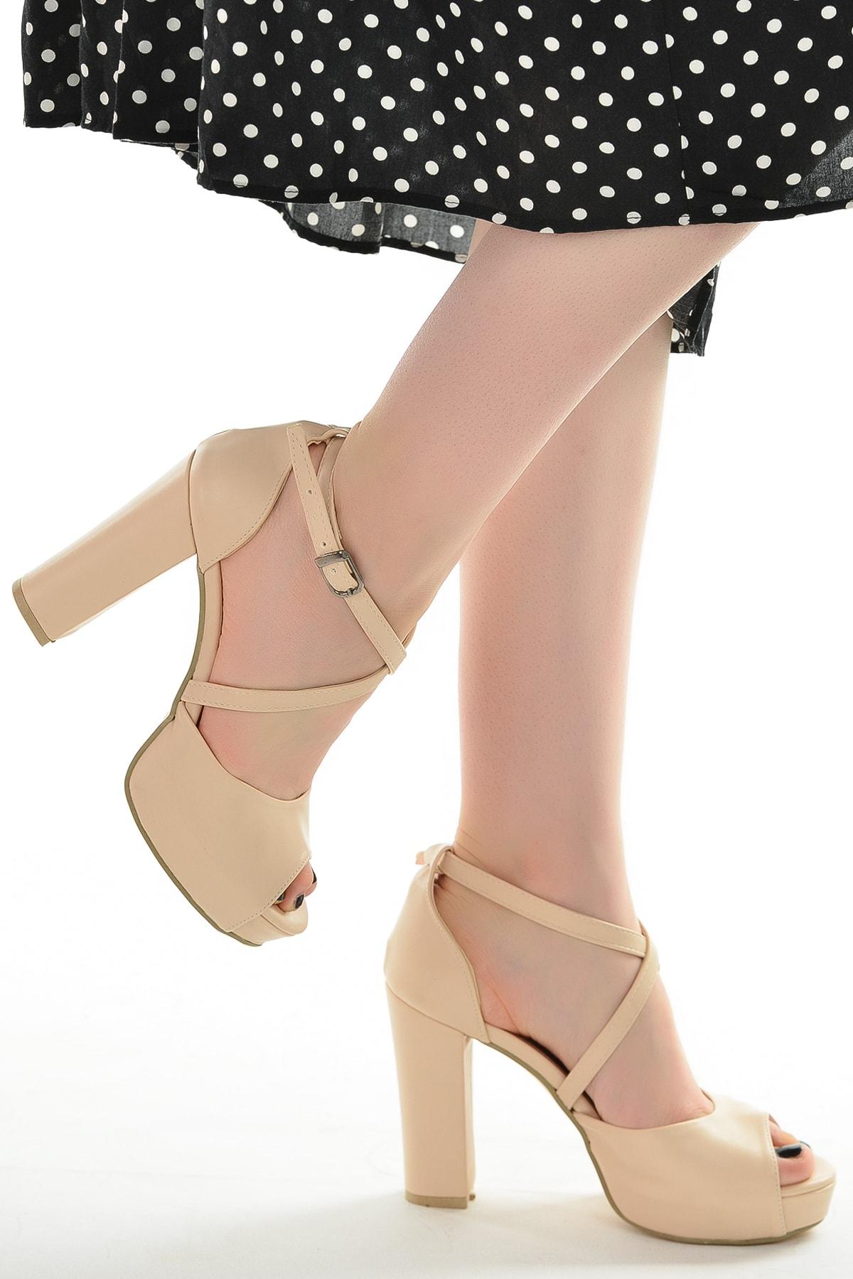 Ayakland Cilt Abiye 11 cm Platform Topuk Sandalet Ayakkabı 3210-2058 2