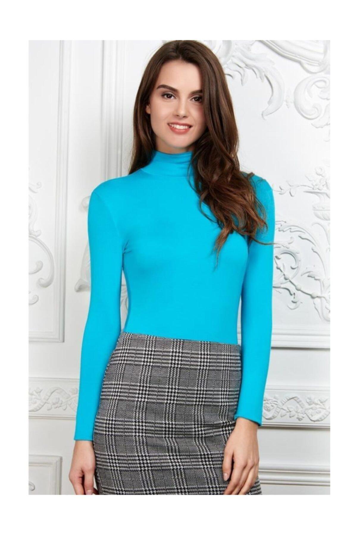 Faberlic Mavi Açık Renkli Kadınlar Için Boğazlı Body Xxl (50-52) 1