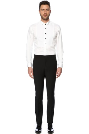 Network Erkek Yün Siyah Smokin Pantolon 1066956