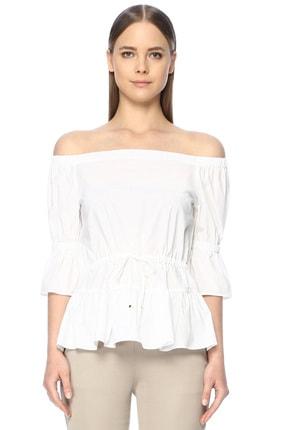 Network Kadın Kayık Yaka Beyaz Gömlek 1068074