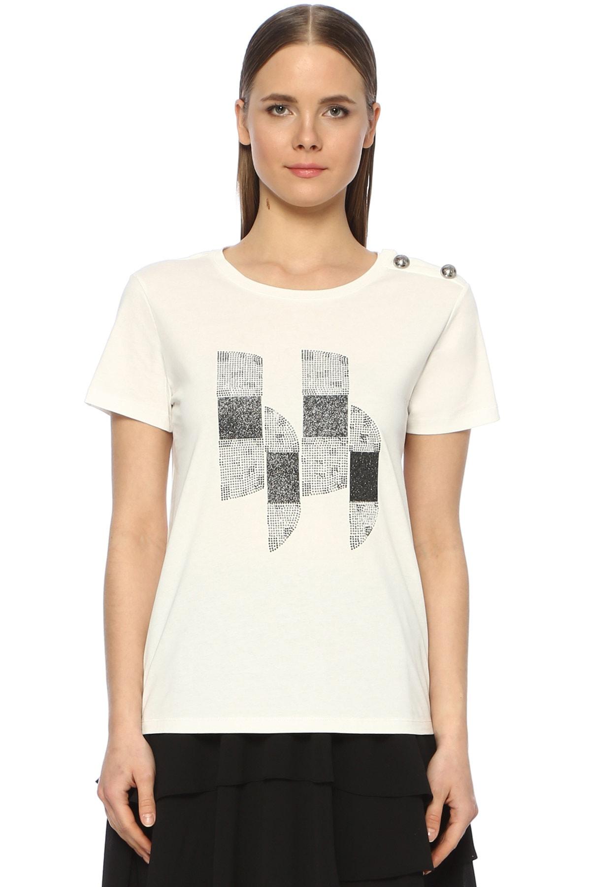 Network Kadın Bisiklet Yaka Beyaz Tshirt 1073302 1