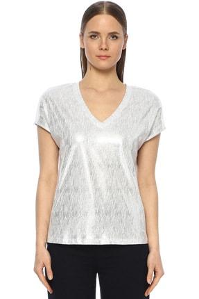 Network Kadın V Yaka Beyaz Tshirt 1073509