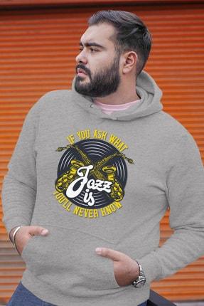 Angemiel Wear Jazz Ve Saksafon Gri Erkek Kapüşonlu Sweatshirt