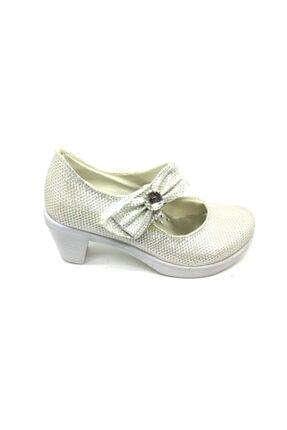 Anıl Kız Çocuk Topuklu Simli Gold Ayakkabı
