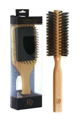 Fe - In Style Ahşap Saç Açma Fırçası + Orta Kalın Fön Fırçası Set