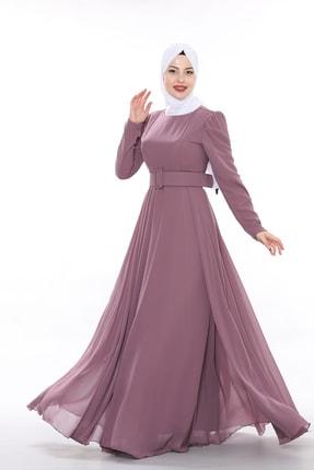 Olcay Kadın Şifon Kalın Kemerli Abiye Elbise