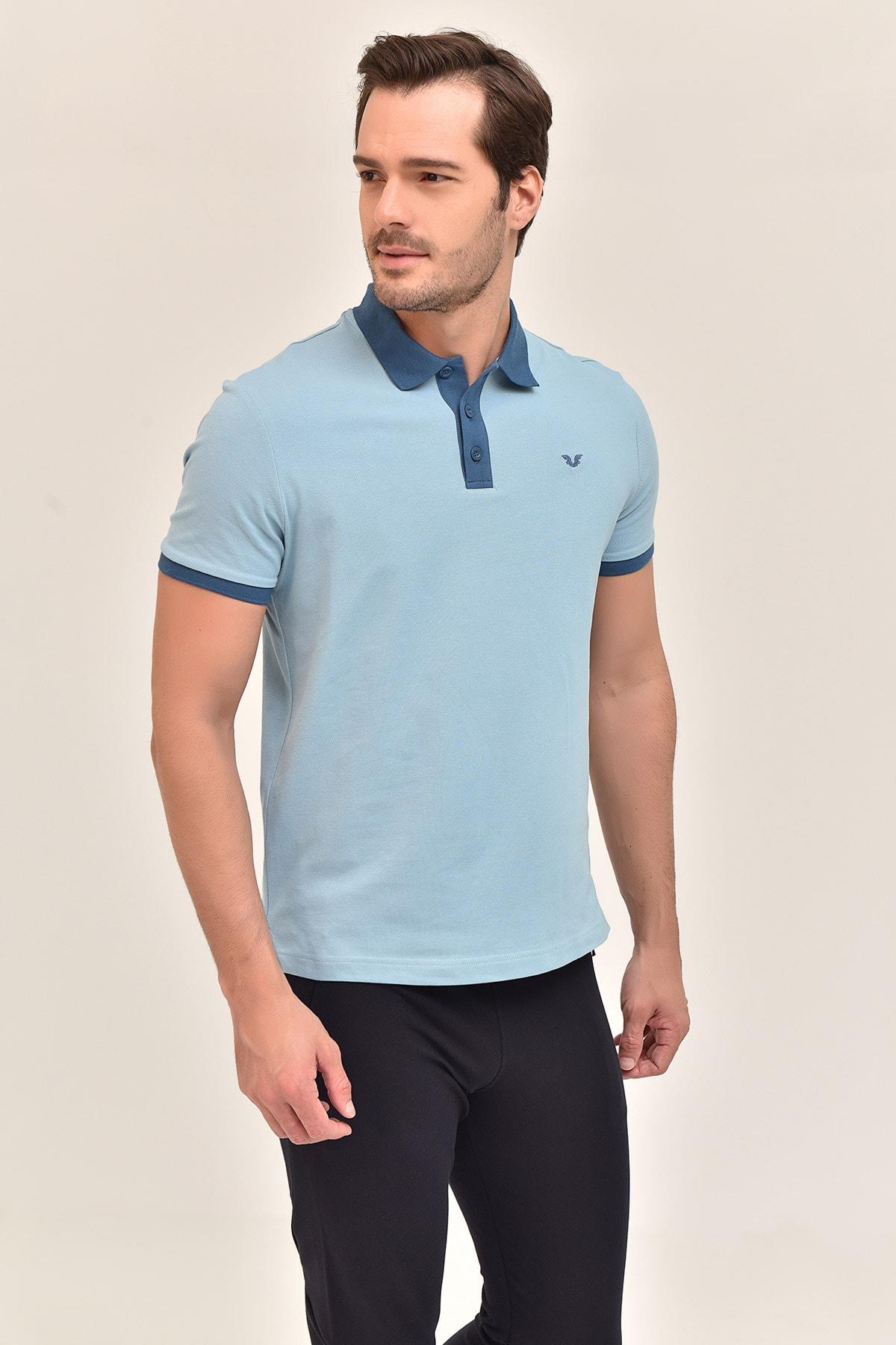 bilcee Mavi Erkek Polo Yaka T-Shirt GS-8982 1