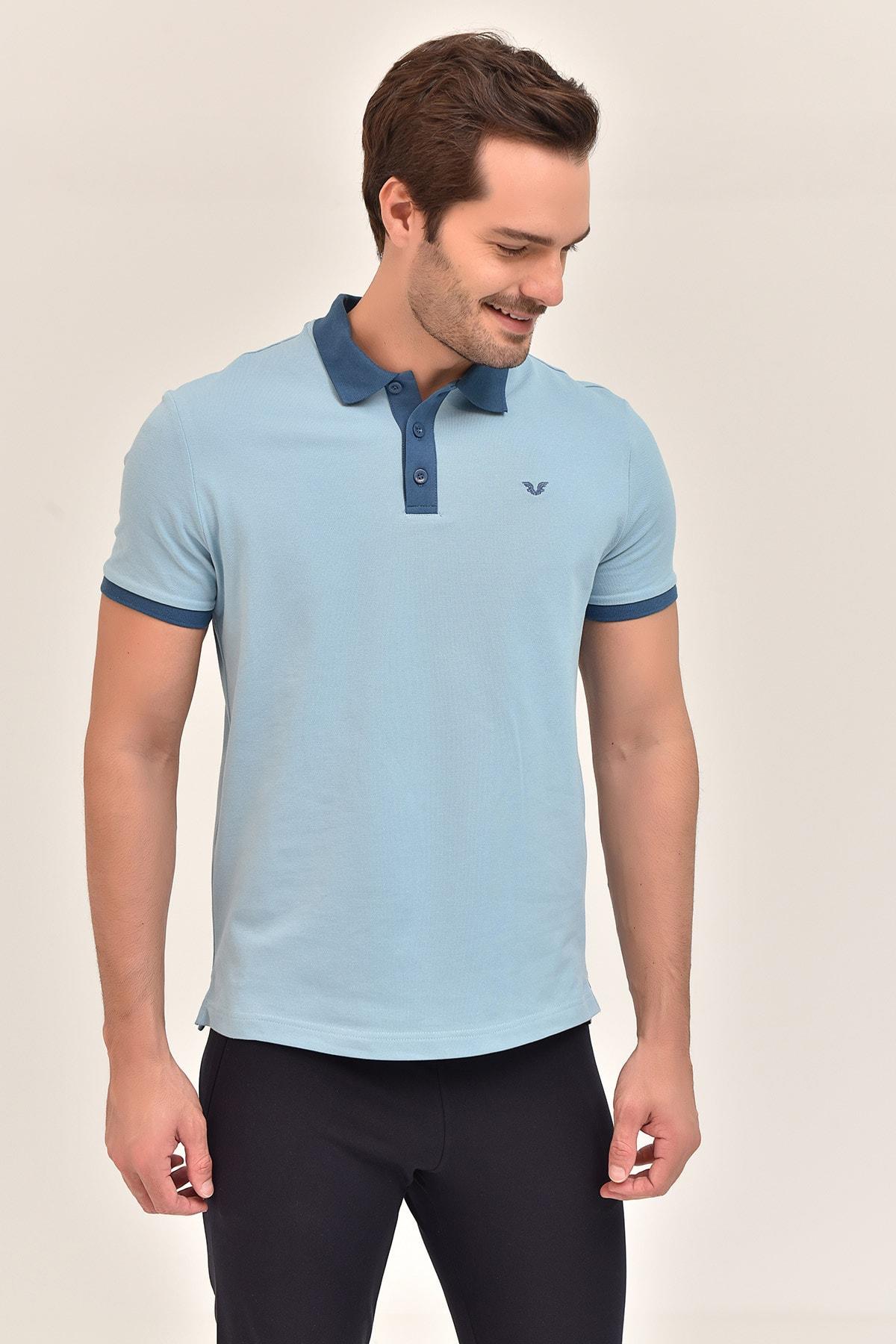 bilcee Mavi Erkek Polo Yaka T-Shirt GS-8982 2