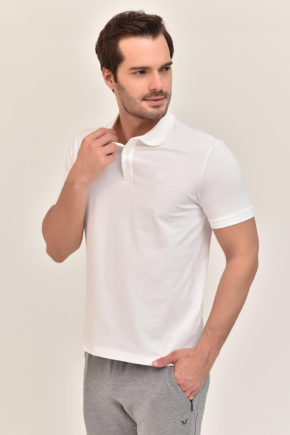 bilcee Beyaz Erkek Polo Yaka T-Shirt GS-8982 2