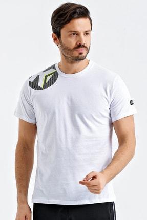 KEMPA Erkek Beyaz Pamuklu Bisiklet Yaka T-shirt